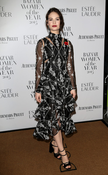 Lily James Cutout Dress [harpers bazaar women of the year awards,lily james,clothing,fashion model,fashion,dress,fashion design,carpet,footwear,shoulder,cocktail dress,flooring,england,london,claridges hotel]