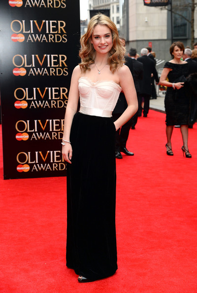 Lily James Strapless Dress
