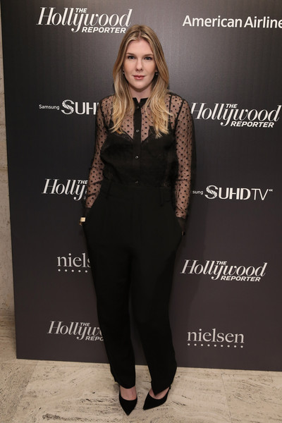 Lily Rabe Slacks [clothing,suit,fashion,dress,pantsuit,formal wear,fashion design,footwear,tuxedo,shoe,people,lily rabe,media,new york city,four seasons restaurant,hollywoood reporter celebrates,the hollywoood reporter]