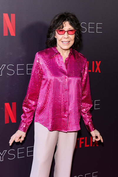 Lily Tomlin Button Down Shirt [grace and frankie,clothing,fashion model,pink,fashion,magenta,performance,premiere,flooring,lip,event,arrivals,lily tomlin,netflixfysee,los angeles,california,netflix fysee,raleigh studios,event]