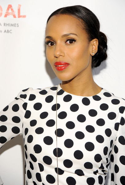 Kerry Washington's rich red lipstick totally popped against her monochrome polka dots.