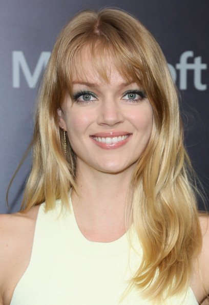 Lindsay Ellingson Long Straight Cut with Bangs