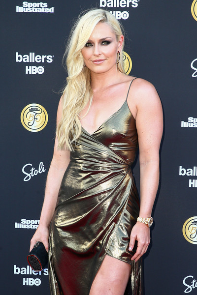 Lindsey Vonn Tube Clutch [clothing,dress,cocktail dress,shoulder,hairstyle,blond,carpet,fashion model,joint,long hair,arrivals,lindsey vonn,west hollywood,california,sports illustrated,sports illustrated fashionable]
