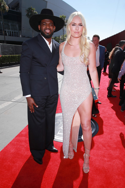 Lindsey Vonn Strappy Sandals [red carpet,red carpet,carpet,clothing,fashion,premiere,flooring,event,dress,suit,formal wear,subban,lindsey vonn,p.k.,microsoft theater,los angeles,california,espys]