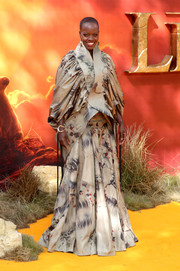 Florence Kasumba worked a voluminous print blouse by David Tlale at the European premiere of 'The Lion King.'