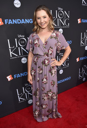 Beverley Mitchell was boho in a floor-length floral wrap dress at the 'Lion King' Sing-Along.