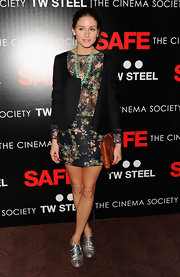 Olivia Palermo stepped into an ultra-shiny pair of silver metallic oxfords for the 'Safe' premiere.