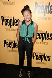 Amandla chose a pair of sleek pants to keep her look premiere totally sophisticated.