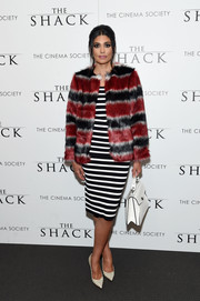 Rachel Roy chose a black-and-white striped sheath dress for the world premiere of 'The Shack.'