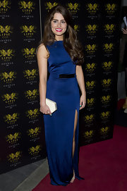 Rachel Shenton chose a royal blue-colored evening dress with a matching belt for her look at the Lipsy VIP Awards.