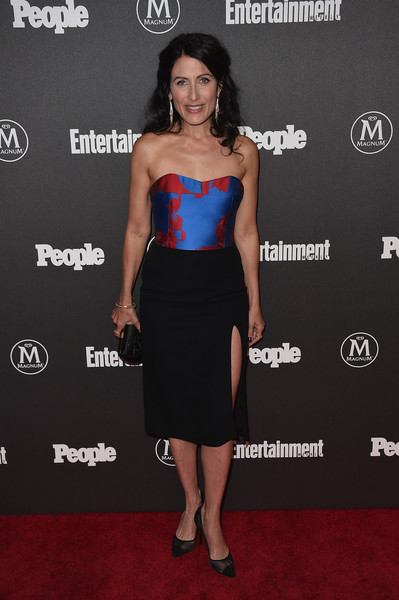 Lisa Edelstein Strapless Dress [entertainment weekly,people new york,upfronts,vip party,clothing,dress,cocktail dress,strapless dress,shoulder,carpet,premiere,shirt,fashion,little black dress,new york city,cedar lake,lisa edelstein]
