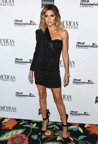Lisa Rinna One Shoulder Dress [the real housewives of beverly hills,season,clothing,dress,cocktail dress,shoulder,little black dress,fashion,footwear,joint,fashion model,leg,arrivals,lisa rinna,gracias madre,west hollywood,california,premiere party,bravo,mexican dynasties]