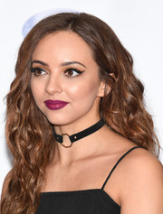 Jade Thirlwall swiped on some berry lipstick for a shock of color to her look.