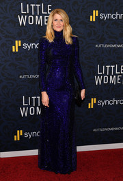 Laura Dern looked party-ready in a micro-beaded indigo gown by Ralph Lauren at the world premiere of 'Little Women.'
