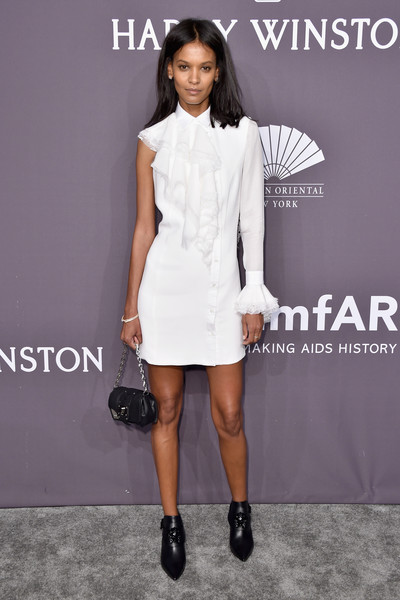 Liya Kebede Mini Dress [clothing,white,fashion model,dress,cocktail dress,fashion,shoulder,carpet,footwear,neck,arrivals,model,liya kebede,new york city,cipriani wall street,amfar new york,amfar new york gala]