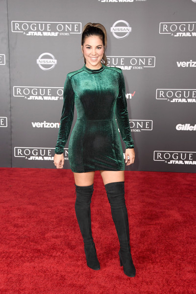 Liz Hernandez Over the Knee Boots [rogue one: a star wars story,carpet,red carpet,clothing,joint,shoulder,fashion,footwear,dress,flooring,cocktail dress,arrivals,liz hernandez,pantages theatre,california,hollywood,lucasfilm,walt disney pictures,premiere,premiere]