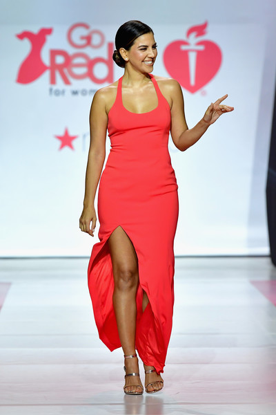 Liz Hernandez Strappy Sandals [fashion model,fashion show,fashion,clothing,runway,shoulder,red,dress,leg,thigh,liz hernandez,runway,runway,hammerstein ballroom,new york city,american heart associations go red for women red dress collection,macys,american heart associations go red for women red dress collection 2018]