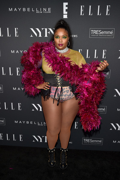 Lizzo Oversized Belt [the shows,clothing,fashion,beauty,pink,fashion model,leg,fashion show,footwear,fashion design,carpet,lizzo,nyfw,the pool,new york city,elle,e,img,img celebrate the kick-off,kick-off]