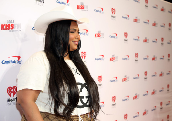 Lizzo Cowboy Hat [beauty,long hair,black hair,photography,fashion accessory,kiss fm,lizzo,commercial use,jingle ball 2019 - backstage,dallas,texas,dickies arena,jingle ball]