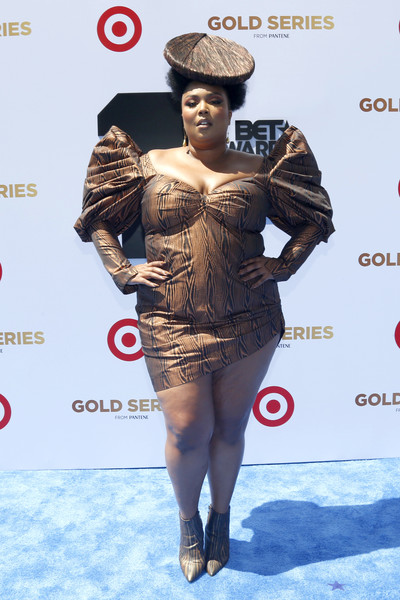 Lizzo Print Dress [clothing,carpet,fashion,red carpet,dress,flooring,fashion model,fashion design,style,lizzo,bet awards,style stage,pantene style stage,california,los angeles,microsoft theater,pantene]