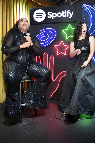 Lizzo Wide Leg Pants [performance,event,textile,stage,talent show,games,dance,spotify,nicholas,lizzo,l-r,california,los angeles,gold diggers,cosmic playlist launch event]