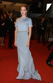 Lea Seydoux looked heavenly at the Cannes premiere of 'The Lobster' in a pastel-blue Miu Miu gown with a bedazzled neckline, waistline, and sleeves.