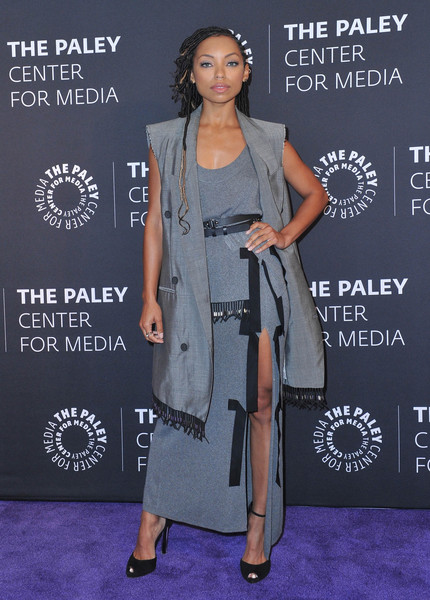 Logan Browning Peep Toe Pumps [clothing,fashion,carpet,shoulder,premiere,fashion design,footwear,flooring,dress,formal wear,dear white people,paley center for media presents: an evening with,an evening with,beverly hills,california,the paley center for media,logan browning]