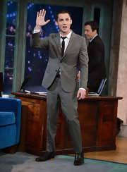 Logan Lerman wore a dapper gray suit when he appeared on 'Late Night with Jimmy Fallon.'