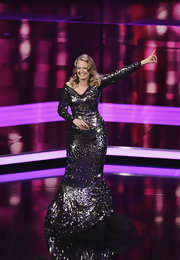 Barbara Schoeneberger stepped out at the 2011 German Film Award in a long sequined gown.