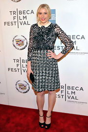 For her footwear, Greta Gerwig kept it simple with basic black platform peep-toes.