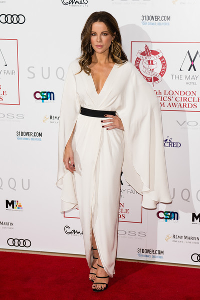 Kate Beckinsale looked positively angelic in a white wing-sleeve gown by Christian Siriano at the London Critics' Circle Film Awards.