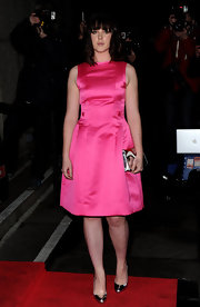 Alexandra Roach shined in a hot pink satin cocktail dress for the British Film Awards.