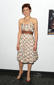Charlotte Parry wore a sweet bicycle print dress to the opening night of 'Look Back in Anger.'