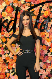 Victoria Justice jazzed up her jumpsuit with a bejeweled belt by BCBG for the Lord & Taylor Stamford grand reopening.