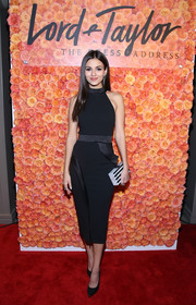 Victoria Justice showed off her svelte figure in a little black halter dress by Zhivago at the Young Women's Honors.