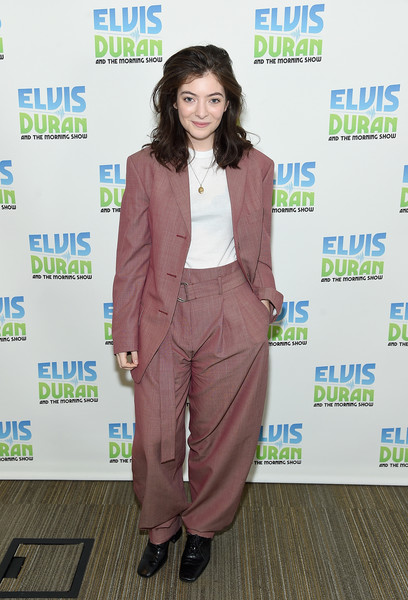 Lorde Leather Lace-ups [the elvis duran z100 morning show,clothing,suit,pantsuit,fashion,outerwear,formal wear,fashion design,carpet,blazer,flooring,lorde,coverage,new york city,z100 studio]