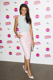 Michelle Keegan pulled her laid-back ensemble together with a pair of white pumps.