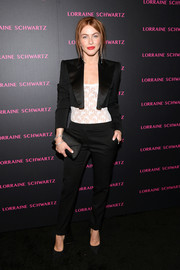 Julianne Hough teamed a black suit with a sheer, tight top for an edgy-meets-sexy look during the Eye Bangle launch.