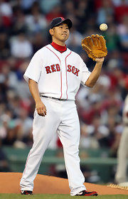 Matsuzaka wears his Boston Red Sox jersey in a game against the Angels.