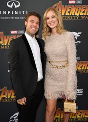 Chiara Ferragni styled her dress with a gold chain belt by Chanel for the global premiere of 'Avengers: Infinity War.'