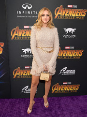 Chiara Ferragni kept it classy in a nude tweed dress with a fringed hem and cuffs at the premiere of 'Avengers: Infinity War.'