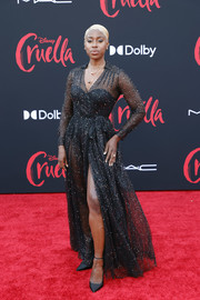 Kirby Howell-Baptiste sizzled in a sheer black gown by Dior at the LA premiere of 'Cruella.'