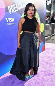 Mindy Kaling paired her tiny top with a flowy black high-low skirt, also by Max Mara.