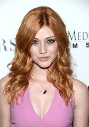 Katherine McNamara was coiffed to perfection with this long wavy style for the premiere of 'Mothers and Daughters.'