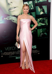 Kristen Bell looked elegant and sultry at the 'Veronica Mars' LA premiere in a strapless pink J. Mendel dress with a thigh-high slit.
