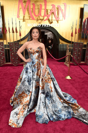 Ming-Na Wen stole the spotlight in a strapless jacquard ballgown by Mark Zunino at the world premiere of 'Mulan.'