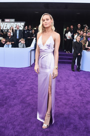 Brie Larson looked alluring in a high-slit lavender slip gown by Celine at the world premiere of 'Avengers: Endgame.'