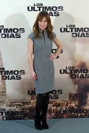 Marta Etura wore this gray cotton day dress for her appearance at the 'Los Ultimos Dias' photo call.