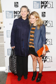 Celia Keenan-Bolger sported a colorful, casual get-up, consisting of a blue blazer, a striped shirt, and an orange clutch, at the premiere of 'All is Lost.'