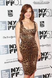 Carla Gugino looked oh-so-chic in a figure-hugging leopard-print dress by Dolce & Gabbana at the premiere of 'All is Lost' during NYFF.